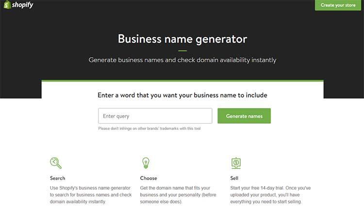 Shopify Generator Name
