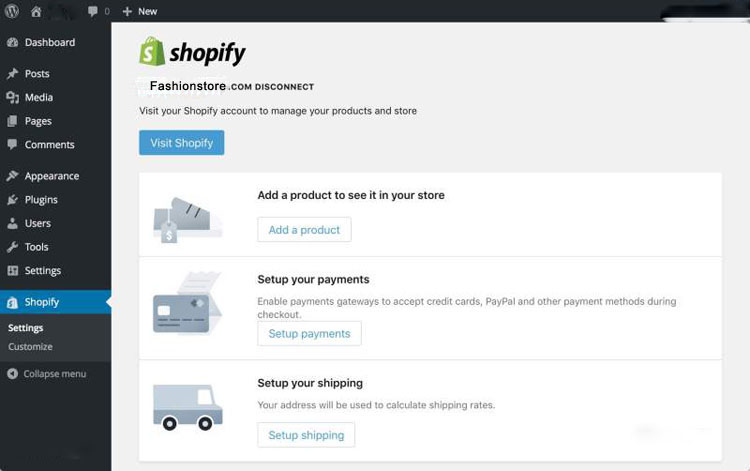 Shopify Store Main page