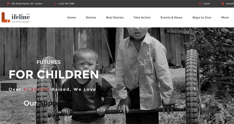 Nonprofit Charity WordPress Themes Lifeline Two