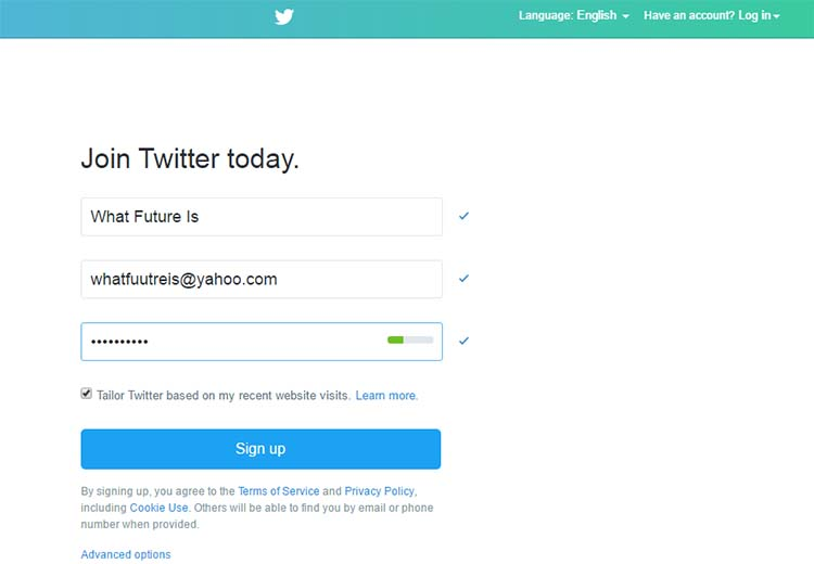 Twitter Signup Page