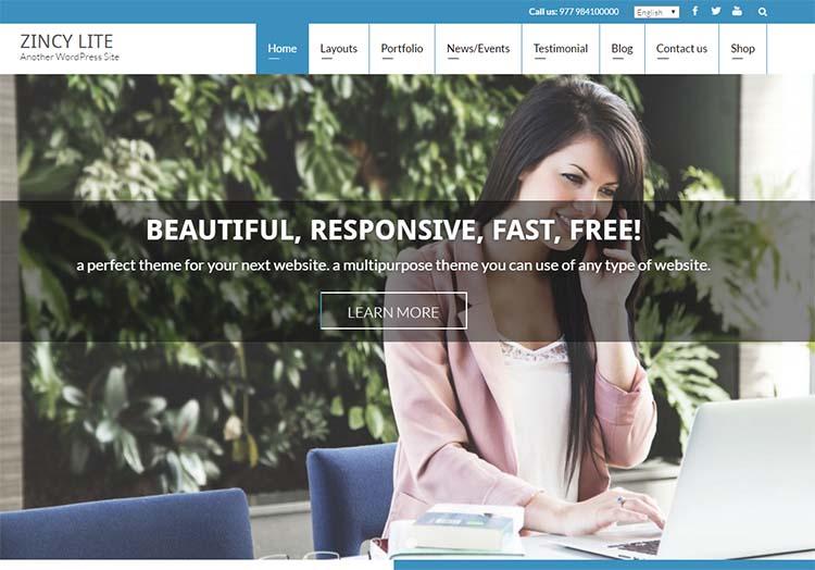 Zincy Lite Free Plus Responsive WordPress Themes