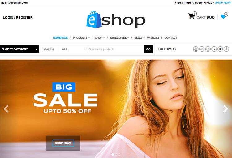 e-Shop Free Plus Responsive WordPress Themes