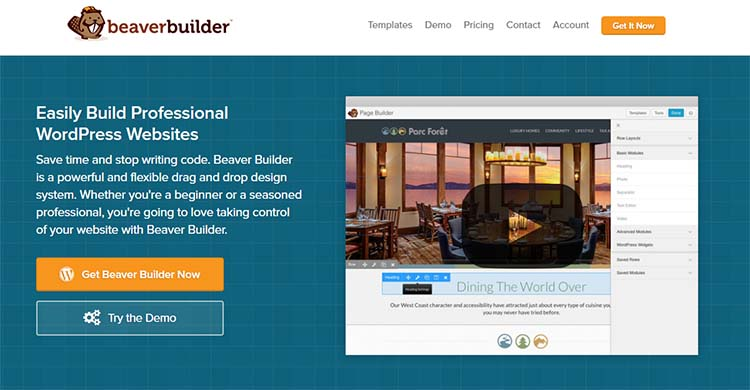 BeaverBuilder Drag and Drop WordPress Page Builder Plugins