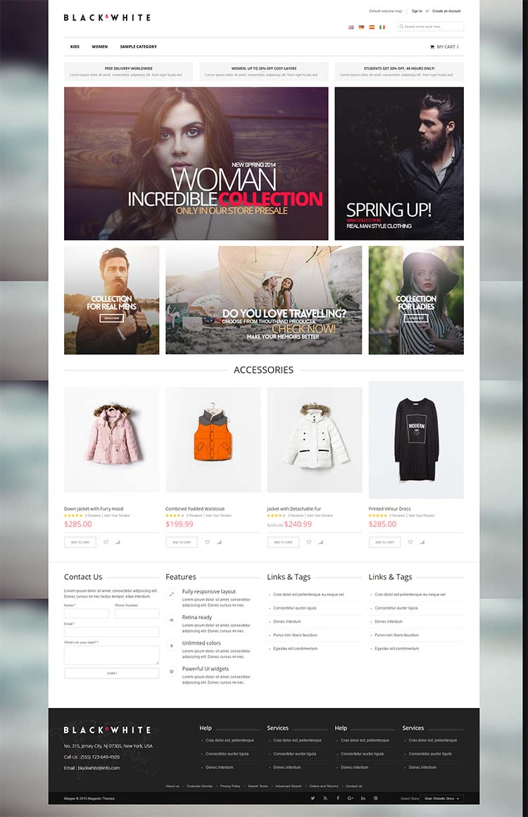 Black and White Magento Responsive Templates