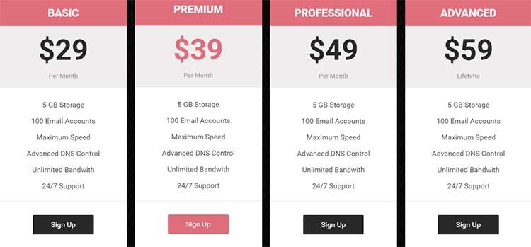 OnePage WordPress Themes Price Plan