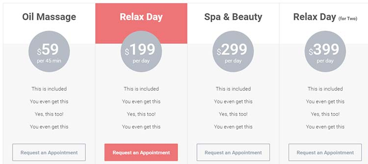 Salon WordPress Themes WellnessCenter Price Plan