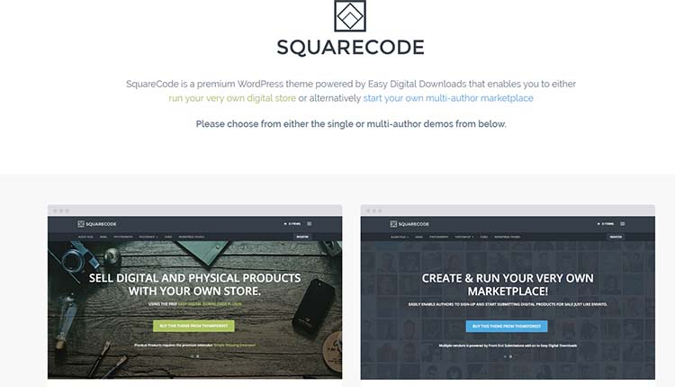 Squarecode Marketplace WordPress Themes