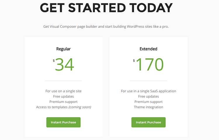 Visual Composer Price Plan