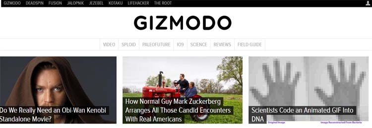 Gizmodo Most Popular Blogs