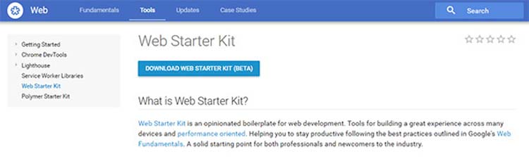 Google Web Starter Kit Web Technologies