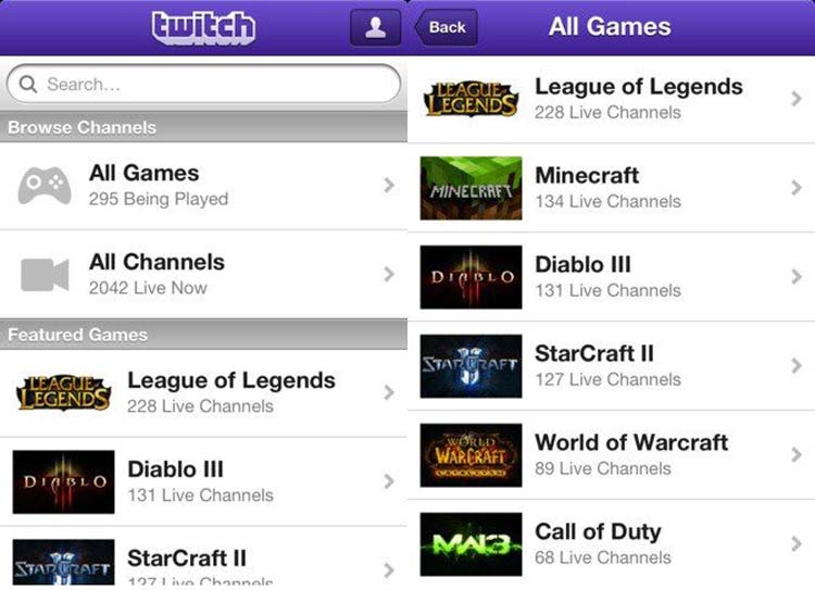 Twitch Phone Apps